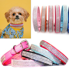 Pet Dog Puppy Cat Collar Crystal Diamante Rhinestones PU Leather D Ring Buckle