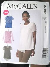 NEW McCALLS SEWING PATTERN M7192 TOPS BLOUSES SHIRTS Sz Xsm-XXL UNCUT