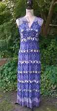 BRAND NEW M&S PER UNA BLUE WHITE AZTEC FLORAL PRINT SUMMER MAXI DRESS SZ 6-14