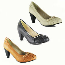 WOMENS LADIES LOW MID HIGH BLOCK HEELS PUMP WORK COURT SHOES SANDALS SIZE 3-8