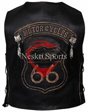 New Route 66 Motorcycle Embossed Distressed Brown Studed Cow Hide Leather Vest