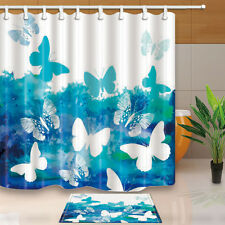 Butterfly Shower Curtain Home Bathroom Waterproof Fabric w/12 Hooks 71*71INCHES