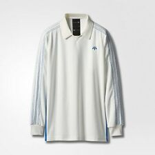 adidas Originals ALEXANDER WANG VELOUR MEN'S POLO Long Sleeve WHITE-Size XS Or S