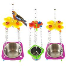 Parrots Parakeets Cockatiel Bird Cage Hanging Feeder Food Water Tray Swing Toys
