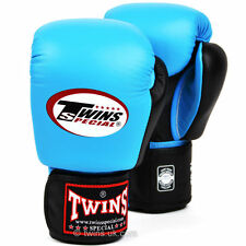 Twins Special Sky Blue-Black Muay Thai Velcro Boxing Gloves - BGVL-3T