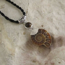 Ornate AMMONITE FOSSIL & TIGERS EYE Stone Pendant / Necklace - Choose Your Stone