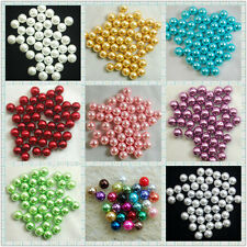 100PCS DIY Colorful Glass Pearl Round Spacer Imitation Loose Pearl Beads 6 Sizes