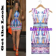NEW WOMENS CELEB STYLE KHLOE BLUE DIAMOND PRINT PARTY MINI DRESS UK 8-14