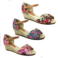 WOMENS LADIES FLORAL ANKLE STRAP WEDGE HEEL SANDALS ESPADRILLES SHOES SIZE 3-8