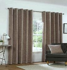 Rapport Mink Natural Yale Heavyweight Fully Lined Chenille Eyelet Curtains