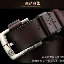 Men Genuine Leather Casual Vintage Single Prong Belt Business Dress Metal Buckle