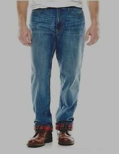 St Johns Bay Mens Flannel Lined Jeans Relaxed Fit Med Wash Cotton size 36 38 NEW