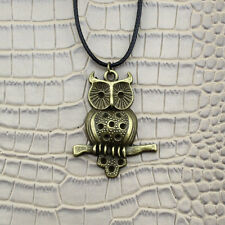 NEW Owl Pendant Silver Bronze Bird Charm Black Leather Necklace Chain Jewelry