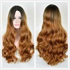 Women Blonde Ombre Hair Full Wig Fashion Style Black Root Long Curly Wigs Hot