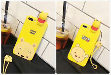 New Cartoon Cute PAPA Pooh Bear Silicon Case Yellow Cover For iPhone 6/6S/7 Plus