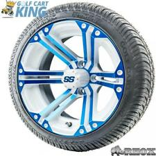"""14"""" RHOX SS White/Blue Wheel and Low Profile Golf Cart Street Tire Combo Options"""