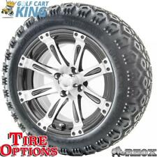 """14"""" RHOX Vegas Machined and Black Wheel w/ Lifted Golf Cart Tire Options Combo"""