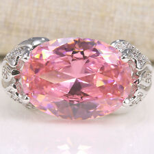 6CT Pink Sapphire Topaz 925 Silver Fashion Wedding Engagement Ring Size 6-10
