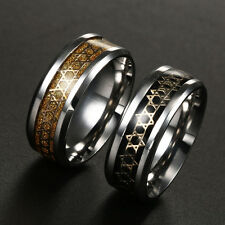 8MM Stainless Steel Titanium Band Ring Men Size 6-13  multi-colored Magen David