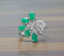 925 Sterling Silver Ring with Green Emerald gemstone Oval Cut handcrafted India.