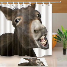 Funny Donkey Shower Curtain Home Bathroom Decor Fabric w/12 Hooks 71*71inches