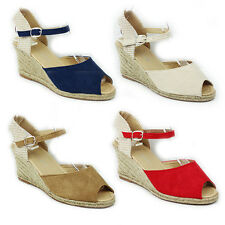 WOMENS LADIES PEEP TOE WEDGE HEEL ANKLE STRAP SANDALS ESPADRILLES SHOES SIZE 3-8