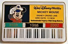 DISNEY CAST MEMBER ID BADGE CARD CAPTAIN MICKEY MOUSE CRUISE LINE PIN LE 3500
