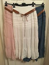New Italian Ladies Women's Lace Gypsy Belted Long Maxi Skirt ONE SIZE