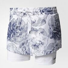 adidas by Stella McCartney WOMEN'S 2IN1 PRINTED RUN SHORT White/Ink- XS,S,M Or L