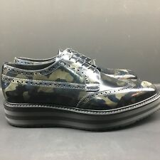 Prada Derby Camo Shoes Men's Creepers Leather Sneakers Size 5-9  2EG015 F0734