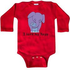 Inktastic I Love My Yaya Elephant Purple Blue Long Sleeve Creeper Grandma Baby