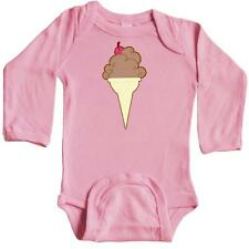 Inktastic Ice Cream Cone With Cherry Long Sleeve Creeper Chocolate Summer Tasty