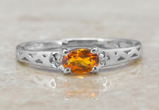 Yellow Citrine Natural Gemstone in 925 Sterling Silver Ring in 4 Prong Settings.