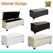 Blanket Box Large Ottoman PU Leather Chest Storage Foot Stool Seat Bench Toy Bed