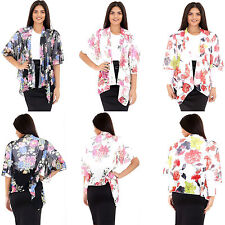 Womens Ladies Floral Chiffon Short Sleeve Waterfall Kimono Top Cardigan