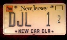 1998 NEW JERSEY NEW CAR DEALER DEALERSHIP DLR VEHICLE LICENSE PLATE AUTO TAG NJ