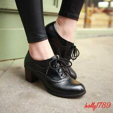 Women's Lace Up Round toe Retro Mid Heels Oxford Wing Tip Brogue leisure Size