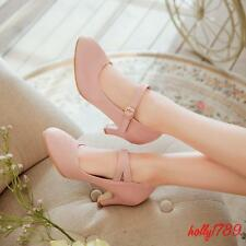 Vintage med heel mary jane womens ankle strap pointed toe ladies casual shoes