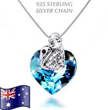 Blue Austrian Crystal Heart Swan Pendant Necklace 925 Sterling Silver Chain Gift