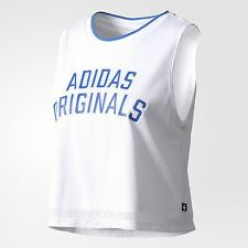 adidas Originals Women LA-INSPIRED CROPPED COTTON TEE White-Size 6,8,10,12 Or 14