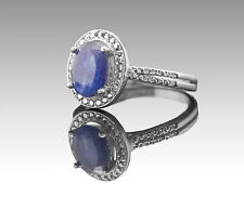 925 Sterling Silver Ring with Oval Cut Natural Blue Sapphire Gemstone Handmade.