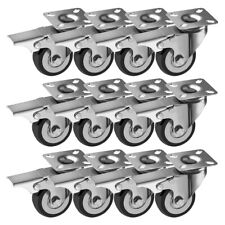"12 Pack 2"" 200 Pound Caster Wheels Brake Swivel Plate Casters Black Polyurethane"