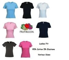 Fruit Of The Loom Ladies T-Shirt Ladies Fit - Various Colours & Sizes - Box6119