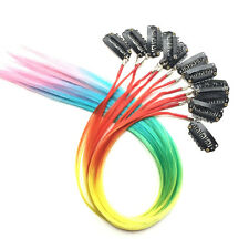 12pcs Multicolour Iridescence Clip in Grizzly Feather Hair Extensions Hair piece