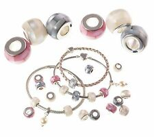 925 Sterling Silver SHELL MOSAIC mother of pearl Charm beads - Pink, Grey, Cream