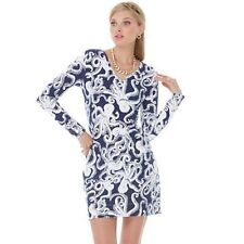 NEW Lilly Pulitzer Daylin Terry Dress Bright Navy Bubbly Blue White Octopus XS