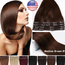 "8pcs 15""18""20""22"" Clip In Remy 100% Real Human Hair Extensions Full Head US B382"