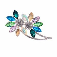 Unique Water Drop Colorful Flower Crystal Brooch Pins Rhinestone Scarf Jewelry