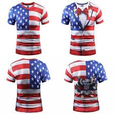 USA Flag T-shirt Mens 3D Print Striped American Flag Men T Shirt Summer Tops Tee
