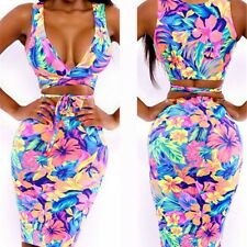Women Two Piece Bandage Bodycon Skirt Dress +V-Neck Crop Top Party Outfits UK